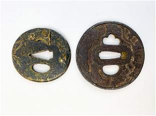 Lot of 2 Antique Tsuba Katana Sword Handguard