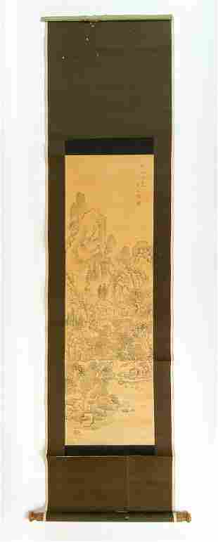 Antique Japanese Scroll Featuring Mountain Scene