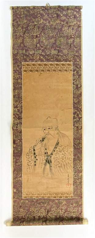 Antique Asian Scroll Featuring Bearded Man
