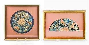 Lot of 2 Asian Bat & Peach Embroidery Art