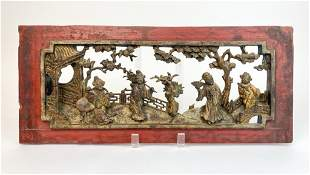 Antique Asian Carved Wood Panel Scene