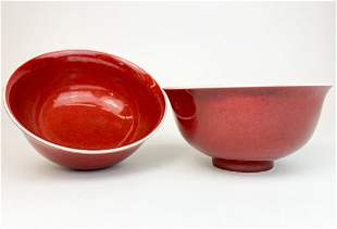 Pair Ming Red Glaze Chinese Porcelain Bowls, Xuande