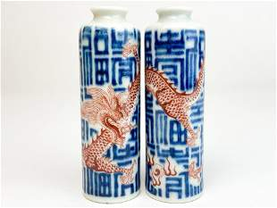Pair Blue White Chinese Porcelain Bottles, Red Dragons