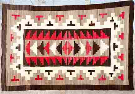 Vintage Navajo Rug Brown and Red