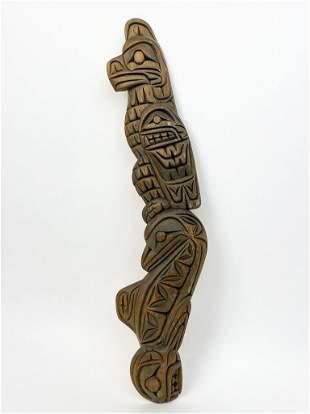 Frank White Eagle (1982) Carved Wood Totem