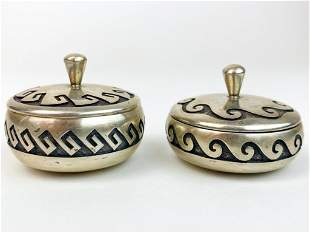 Lot of 2 DAWA American Indian Sterling Silver Pillboxes