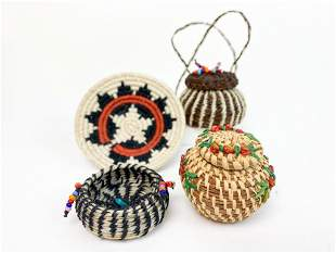 Lot of 4 American Indian Woven Miniature Baskets