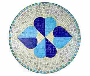 Mid-Century Glass Tile Mosaic Outdoor Table Top Heart