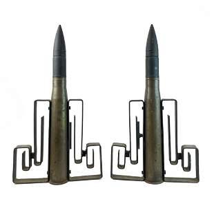 Pair Custom Mid-Century Artillery Shell Andirons