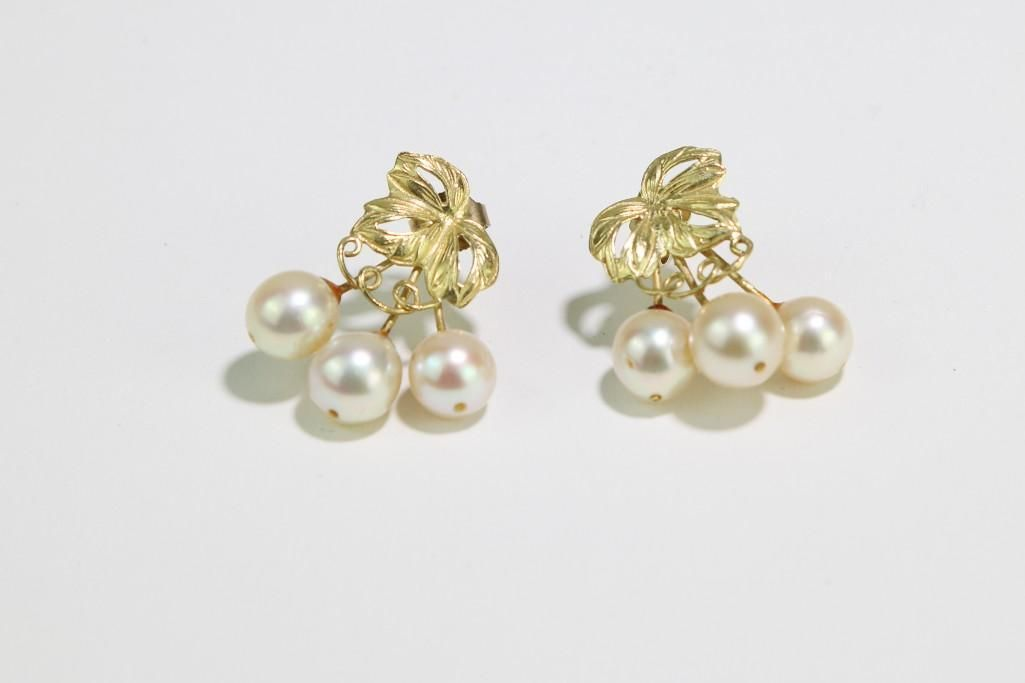 18K Yellow Gold and Pearl Earrings Cherries