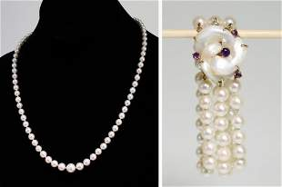 Pearl Necklace and Bracelet Set w/ 14K Yellow Gold