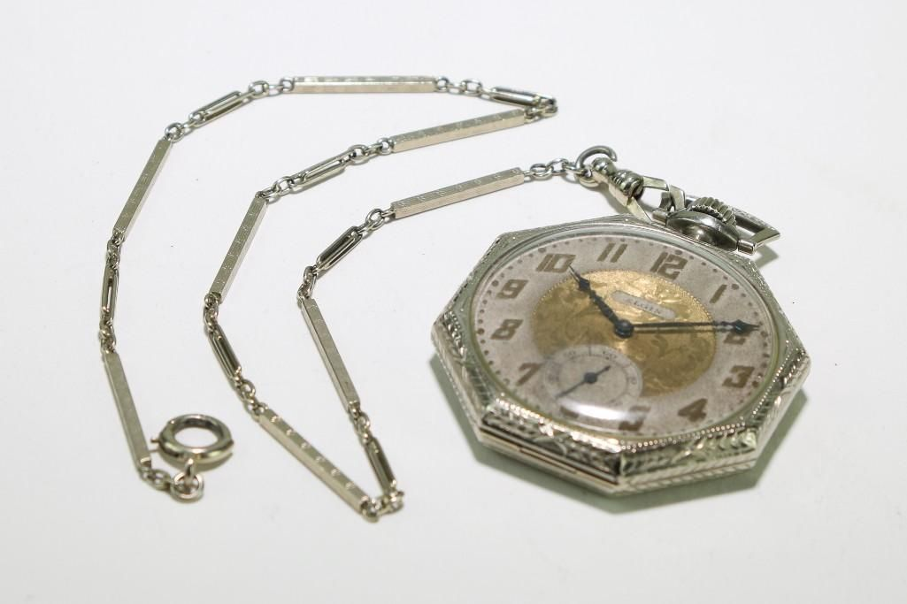 Elgin 17 Jewel 14K White Gold Pocket Watch and Chain