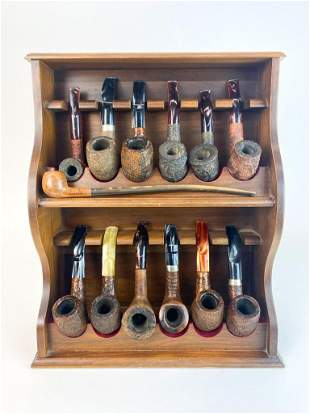 Collection 13 Vintage Smoking Pipes & Display Stand