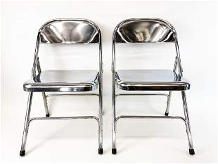 Pair Vintage Polished Chrome Folding Chairs