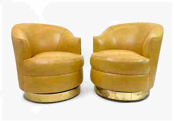 Pair Karl Springer Ostrich Leather Swivel Arm Chairs
