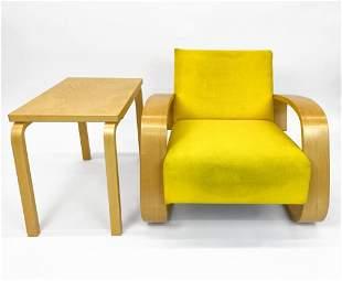 """Alvar Aalto for Artek """"Tank"""" Lounge Chair & Side Table"""