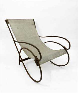 Vintage Wrought Iron & Canvas Sling Lounge Chair