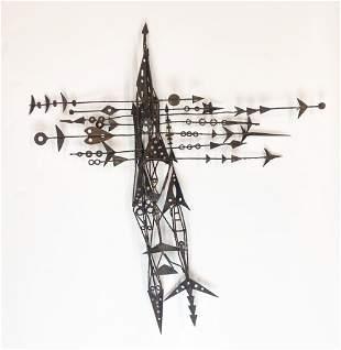 Artist Unknown Mid-Century Metal Wall Sculpture