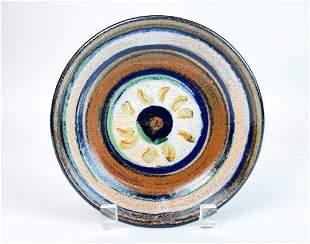 Unknown Multi-colored Studio Pottery Dish Artist Signed