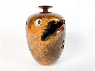 Hap Sakwa (b.1950) Turned Knotted Wood Vase, 1979