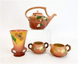 Lot of 4 Pieces Roseville Pink Snowberry Art Pottery