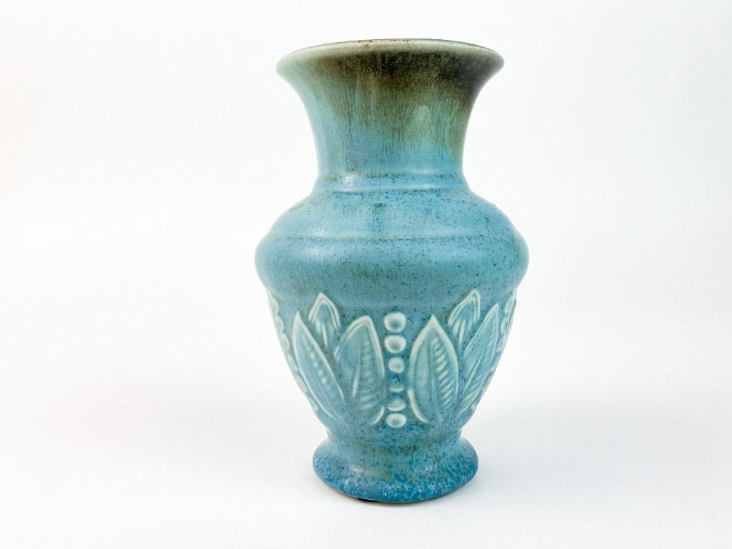 Vintage Rookwood Pottery Blue Leaf Vase