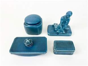 Vintage Rookwood Pottery Blue Ink Set