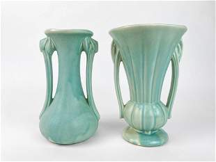 Lot of 2 1940s McCoy Pottery Matte Green Vases