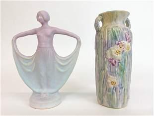 Lot of 2 Weller Art Pottery Nouveau Vases