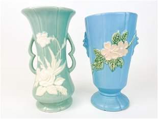 Lot of 2 Vintage Weller Pottery Blue Floral Vases
