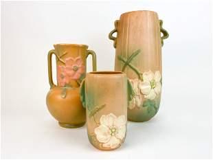 Lot of 3 Weller Pottery Large Adobe Floral Vases