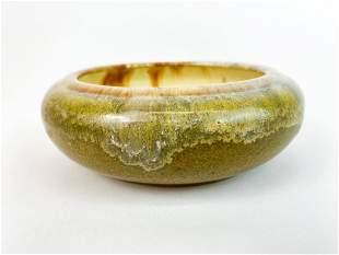 Vintage Fulper Pottery Olive Green Bowl