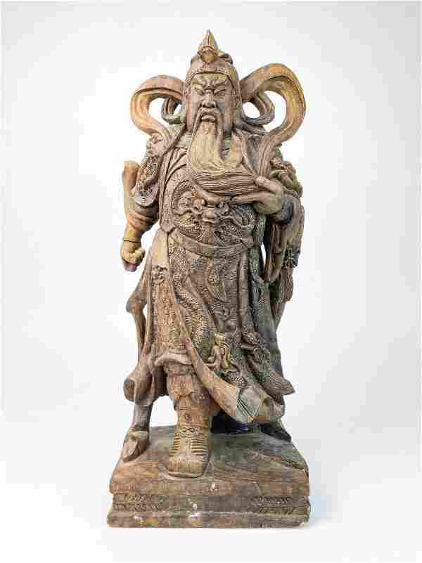 Large Carved Wood Figure of General Guan Yu
