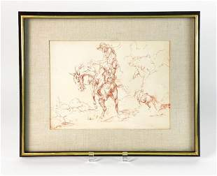 Frederic Remington (1861-1909) Signed Pencil on Paper