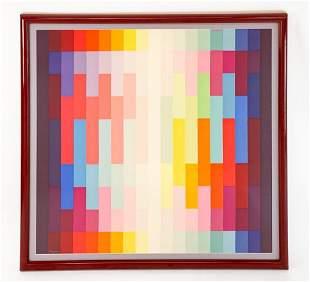 Yaacov Agam (b.1928) Framed Silk Scarf