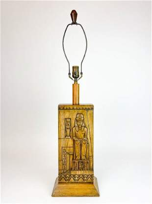Egyptian Motif Hand Carved Wood Mid Century Table Lamp