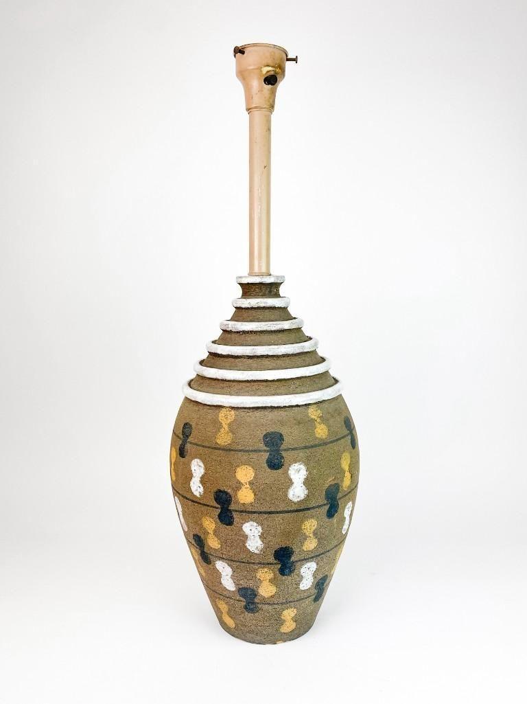 Italian Studio Pottery Stoneware Mid Century Lamp