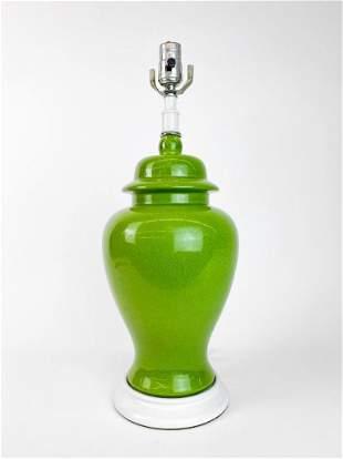 Avocado Green Crackle Ceramic Vintage Mid Century Lamp