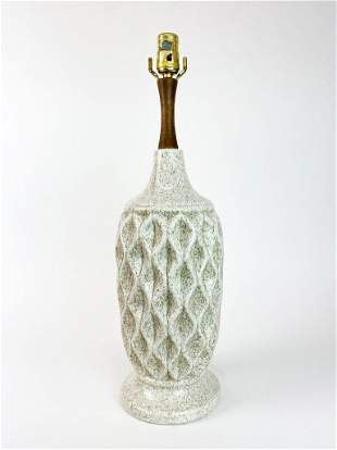 Oatmeal Speckled Glaze Quilted Vintage Ceramic Lamp
