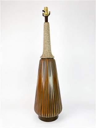 Conical Earth Tone Volcanic Lava Glaze Vintage Lamp