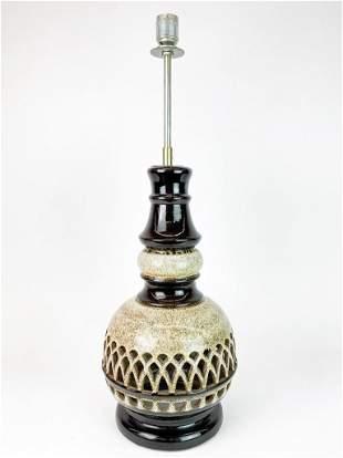 Pierced Oatmeal Brown Glaze Luminary Style Vintage Lamp