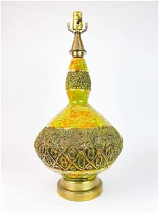 Avocado Green Orange Volcanic Lava Glaze Vintage Lamp