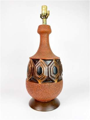 Chunky Tiki Style Brick Red Vintage Mid Century Lamp