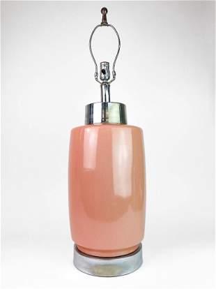 Pink Porcelain Glaze & Chrome Late Century Lamp