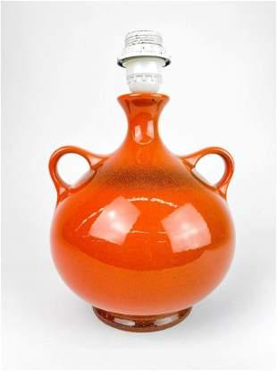 West German Burnt Orange Glaze Porcelain Lamp