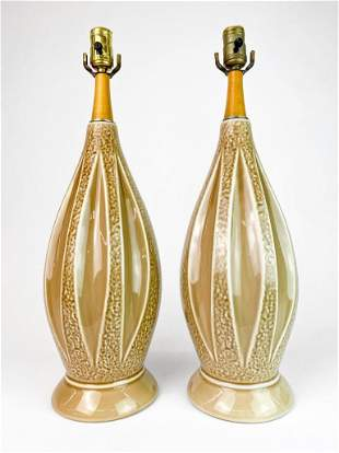 Pair Oatmeal Glaze Wood Lamp