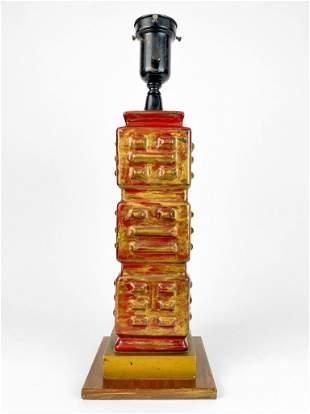 Asian Style Red & Gold Glazed Porcelain Vintage Lamp