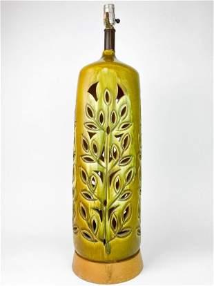 Avocado Green Glaze Pierced Leaf Pattern Ceramic Lamp