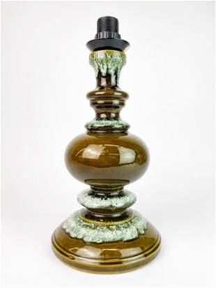 West German Avocado & Sea Foam Glaze Vintage Lamp
