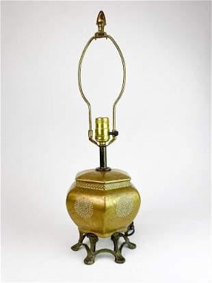 Asian Style Hexagonal Gold Metallic Vintage Table Lamp